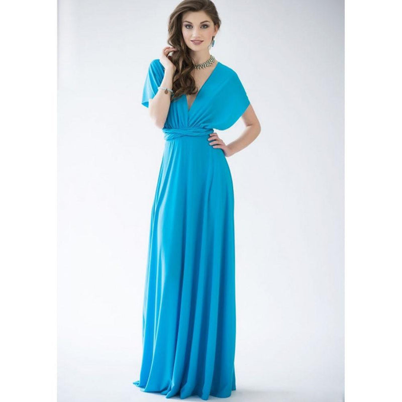 Back Cross V-neck Bandage Floor Length Prom Dress - Shoes-Party - 6