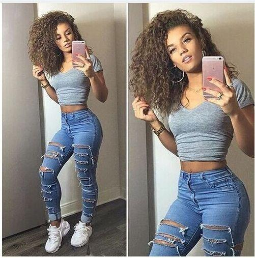 Ripped High Waist Skinny Holes Slim Fashion Jeans