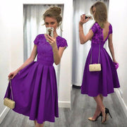 Splicing Solid Color Backless Short Sleeves Dress - Shoes-Party - 5
