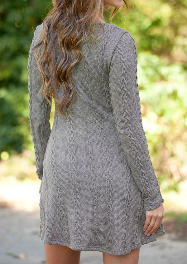 Knitting Round Neck Long Sleeve Sweater(Extra large code)