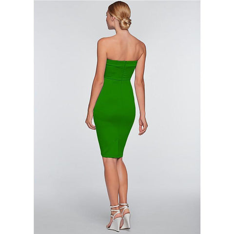 Pure Color Strapless V-neck Sleeveless Mid-calf Dress