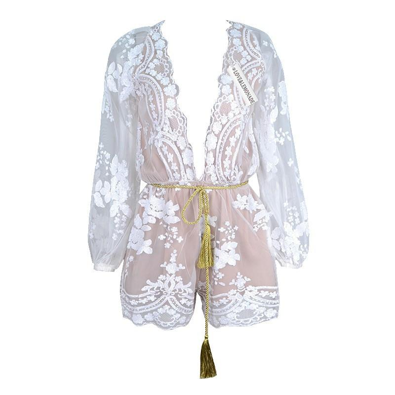 Deep V-neck Long Sleeves Sequin Belt Falbala Transparent Sexy Jumpsuit - Bags in Cart - 8