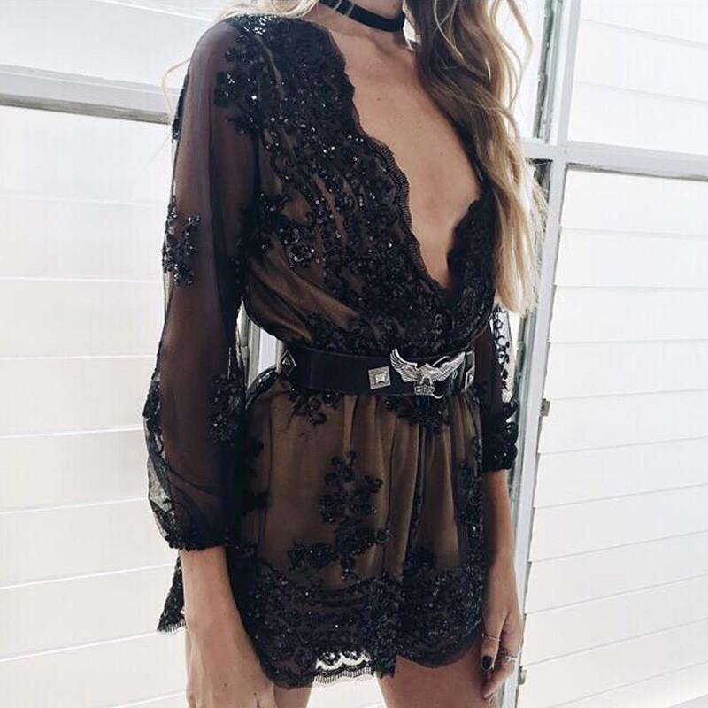 Deep V-neck Long Sleeves Sequin Belt Falbala Transparent Sexy Jumpsuit - Bags in Cart - 4