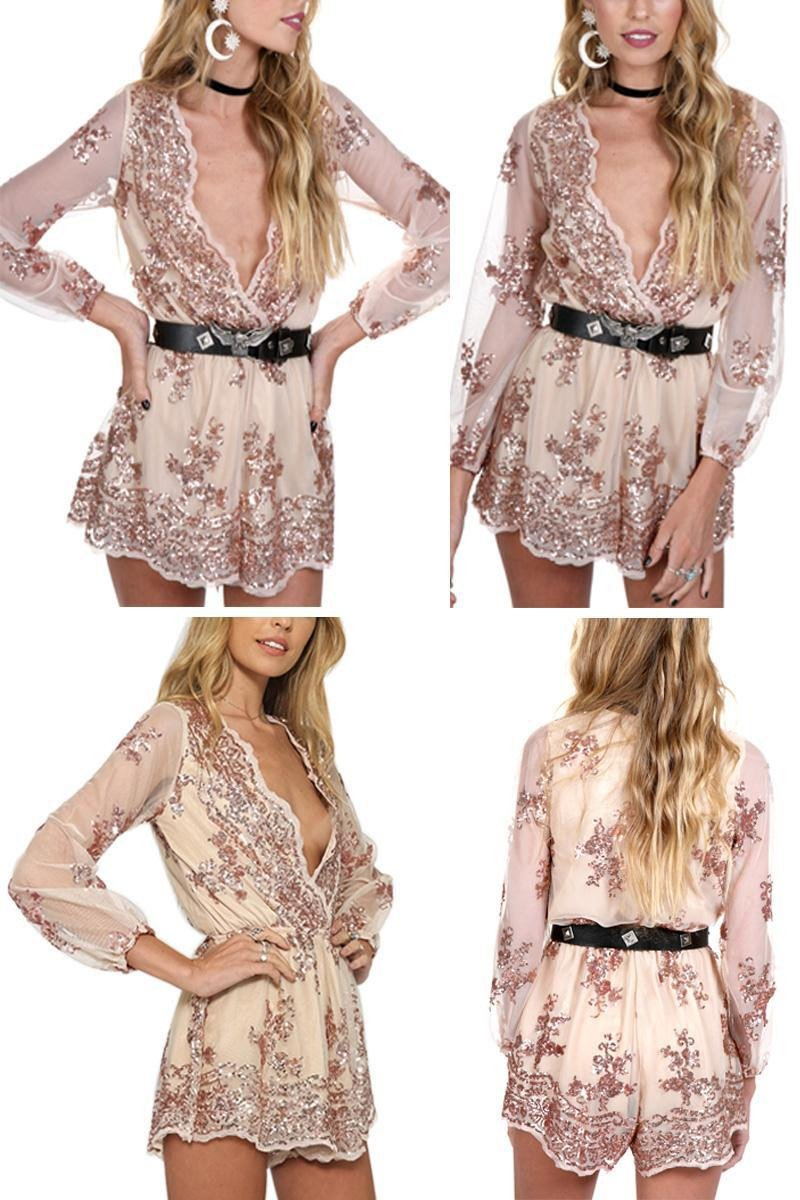 Deep V-neck Long Sleeves Sequin Belt Falbala Transparent Sexy Jumpsuit - Bags in Cart - 7