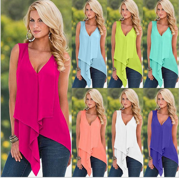 V-neck Sleeveless Drop Hem Pure Color Chiffon Blouse