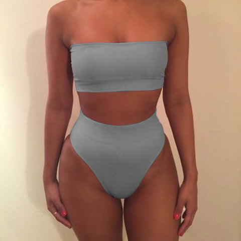 Pure Color Strapless High Waist Two Pieces Swimwear