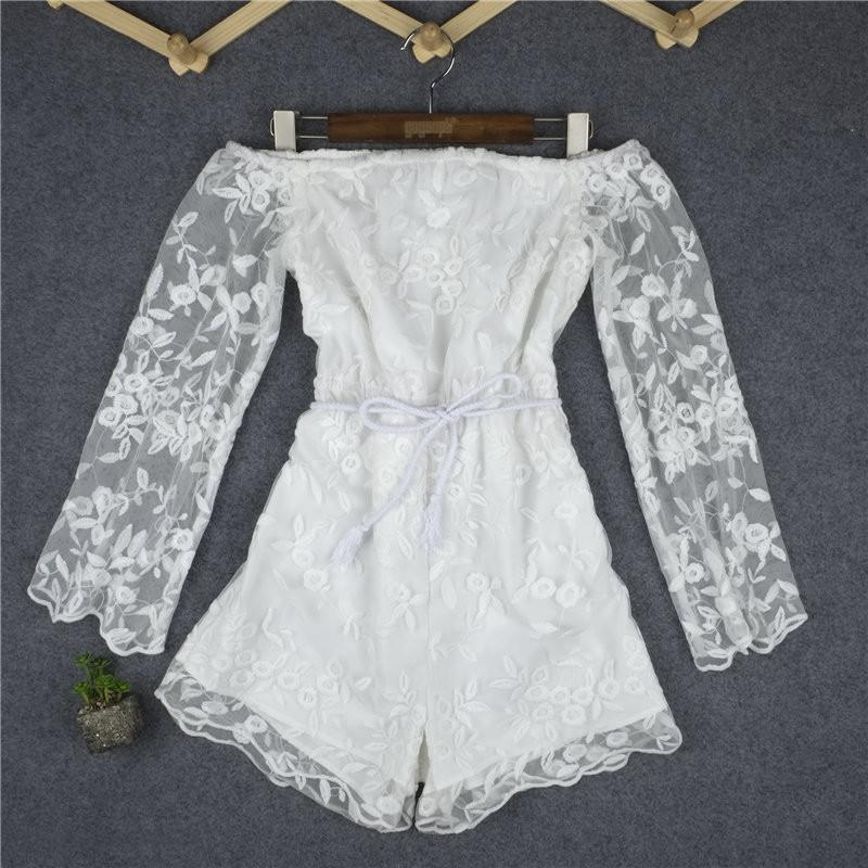 White Off Shoulder Long Sleeve Lace Short Jumpsuit