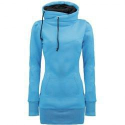 Long Slim Hooded Solid Color High Collar Hoodie - Bags in Cart - 5