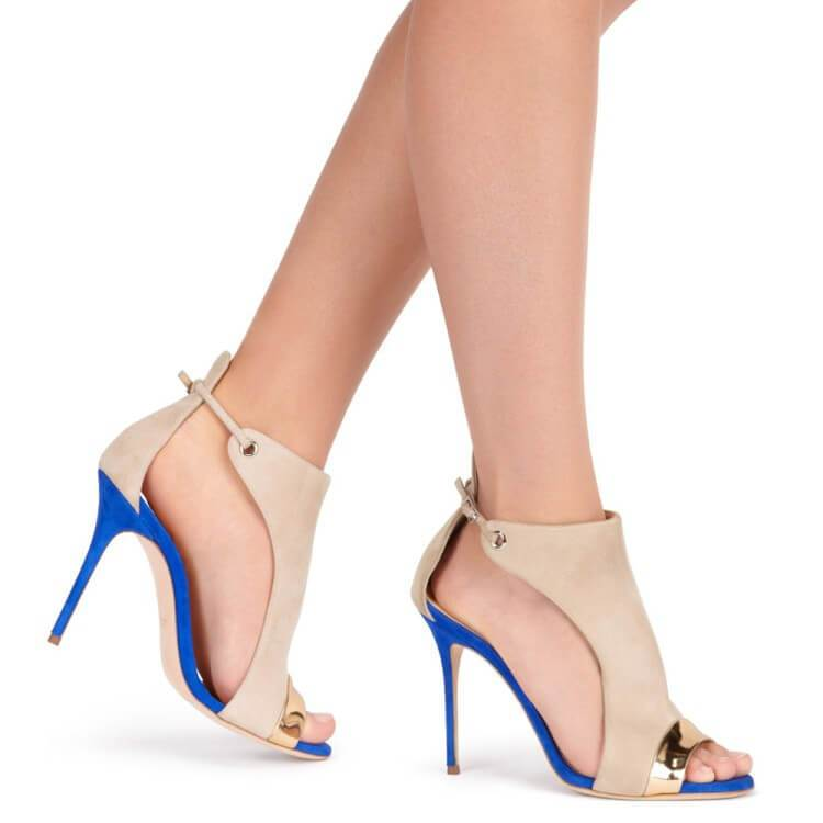 Summer Suede Peep Toe Color Block High Heel Sandals