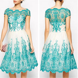Short Sleeves Hollow Knee-length Lace Party Dress