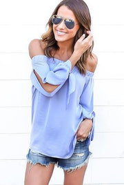 Off-shoulder Split Casual Pure Color Long Sleeves Blouse - Bags in Cart - 1