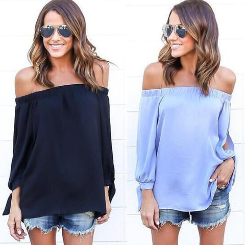 Off-shoulder Split Casual Pure Color Long Sleeves Blouse - Bags in Cart - 2