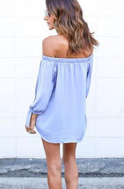 Off-shoulder Split Casual Pure Color Long Sleeves Blouse - Bags in Cart - 5