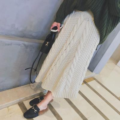 Winter A-line Pure Color Braid Knit Long Skirt