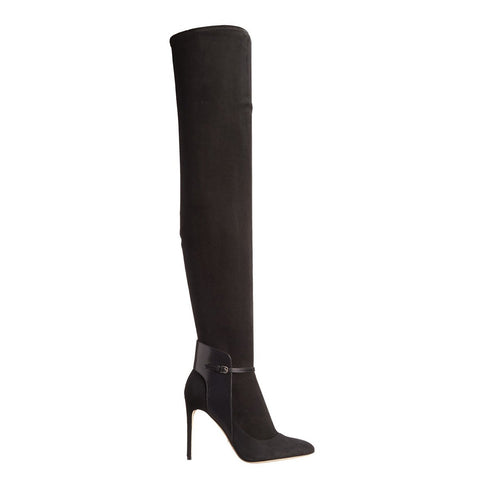 Patchwork Stiletto High Heel Pointed Toe Zipper Over the Knee Long Boots