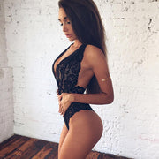 Sexy Lace Halter Sleeveless Stretch Sheer Bodysuit