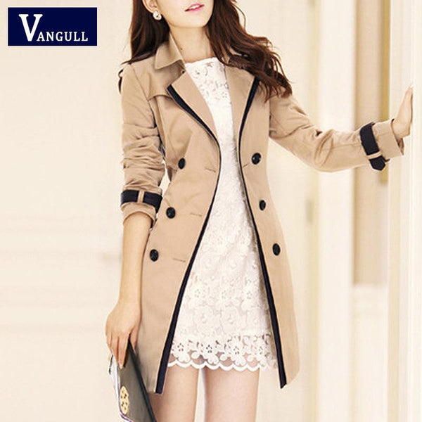 Double Breast Lapel Women Slim Oversized Trench Coat Peacoat