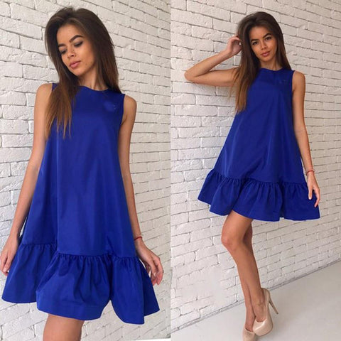 Sleeveless Scoop Falbala Pure Color A-line Short Dress