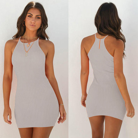 Sleeveless Ribbed Knit Bodycon Dress