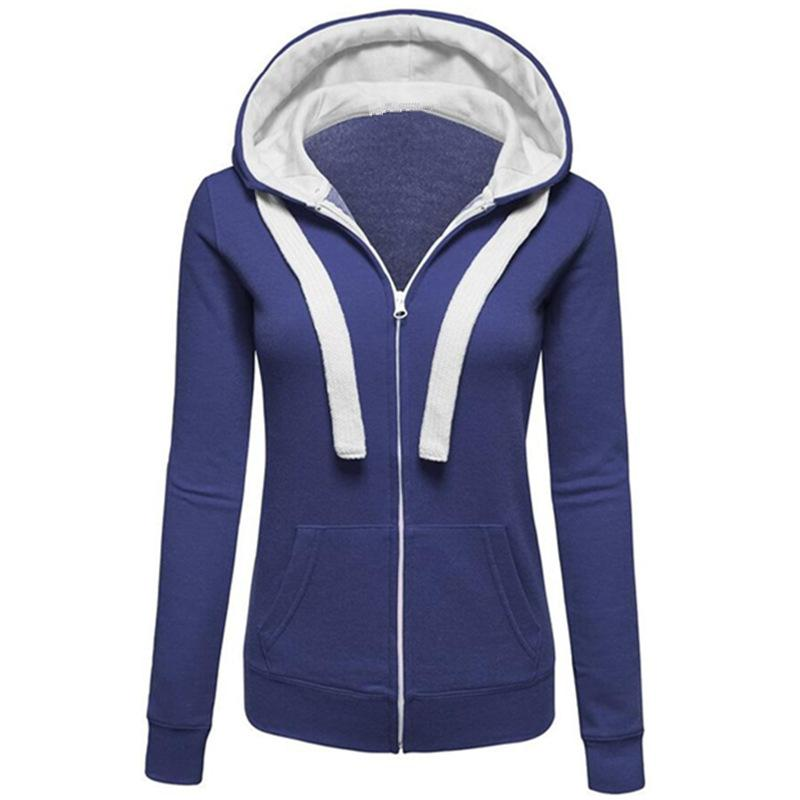 V-neck Zipper Pockets Straps Slim Hoodie