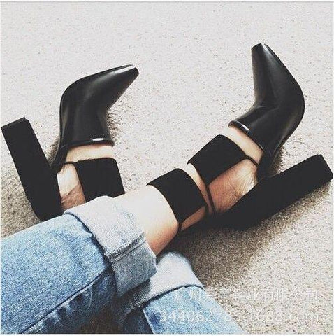 Cut Out Pointed Toe High Chunky Heel Party Shoes