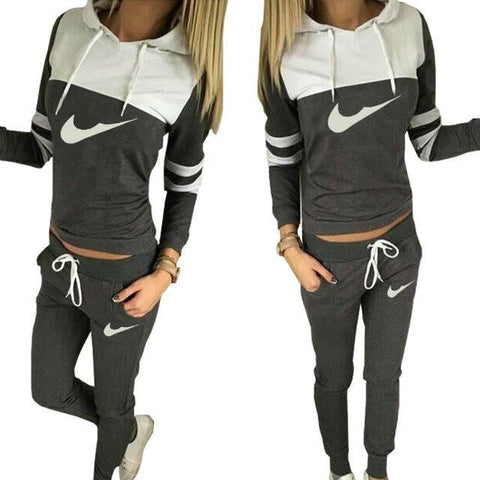 Hooded Blouse Drawstring Long Pant Patchwork Activewear Set