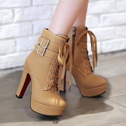 Martin Lace UP Platform High Stiletto High Heels Short Boots