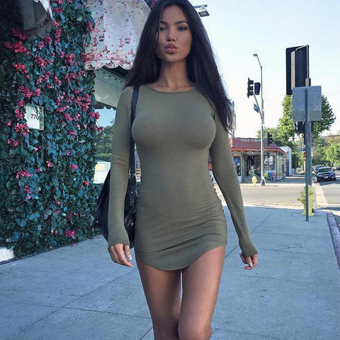 Solid Scoop Long Sleeve Bodycon Slim Short Dress