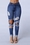 Low Waist Cut Out Rough Holes Curled Long Skinny Pants