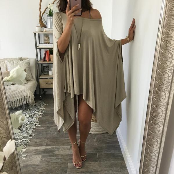 Long-Sleeves-Pure-Color-Irregular-Split-Loose-Dress