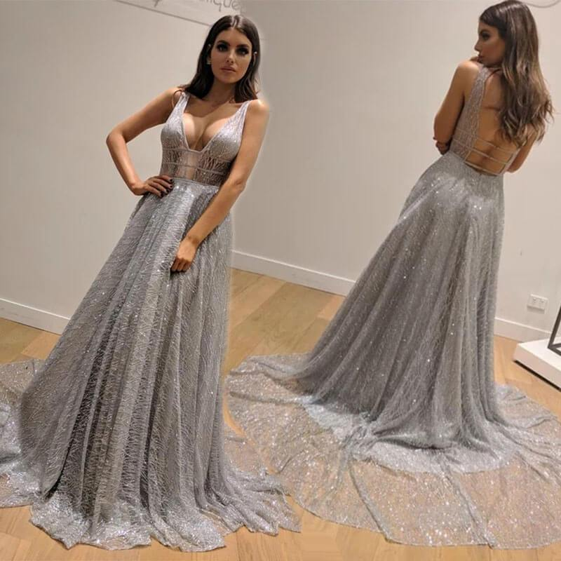 Sexy Backless Silver Floor Length Evening Dress
