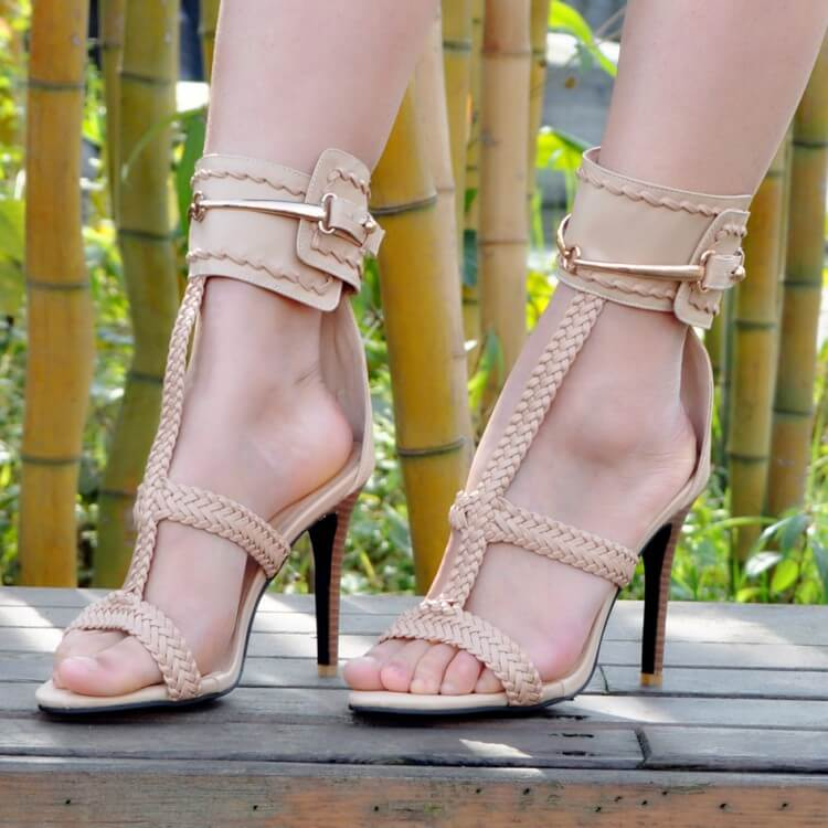 Apricot Leather Open Toe Buckle High Heel Sandals