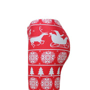 Reindeer Snow Print Women Christmas Red Skinny Legging