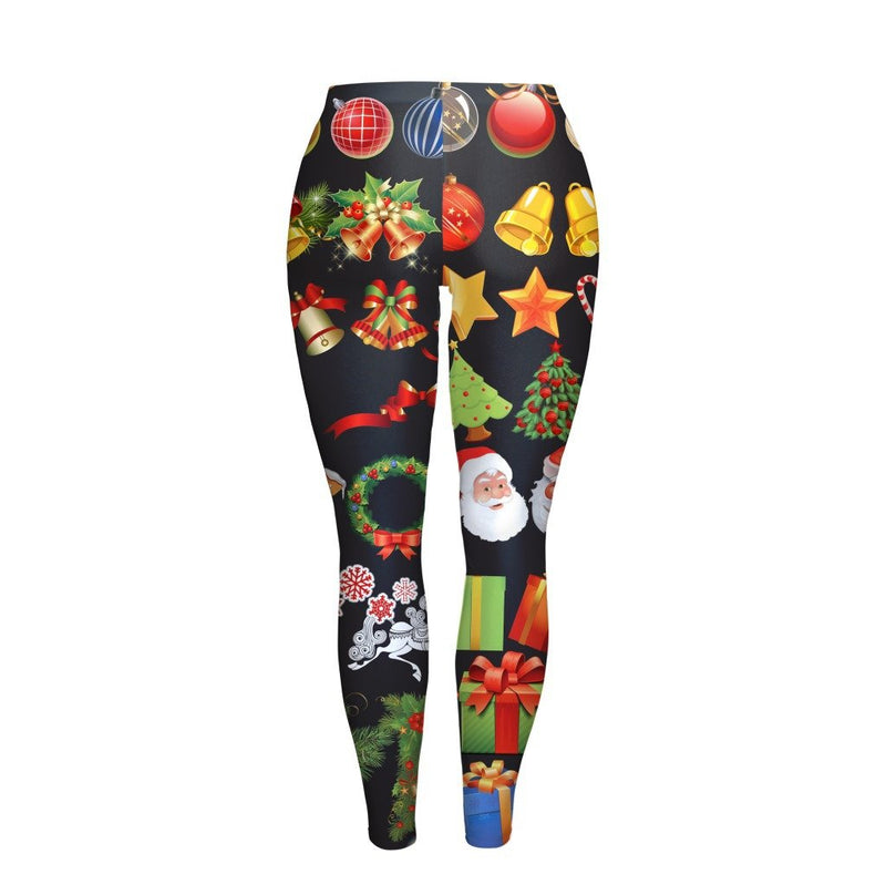 Christmas Party Gifts Print Women Mid Waist Skinny Legging