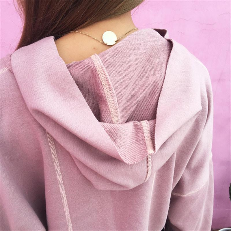 Hooded Long Sleeves Pure Color Casual Crop Top Sweatshirt
