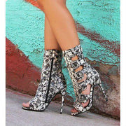 Mixed Color Hasp Peep-toe Zipper Stiletto High Heel Ankle Boot Sandals