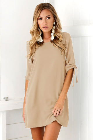 Solid Color Half Sleeves Short Loose Dress
