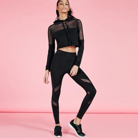 Transparent Mesh Crop Top with Skinny Pants Two Pieces Set