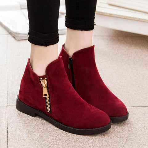 Winter Thicken Side Zippers Flat Ankle Boots