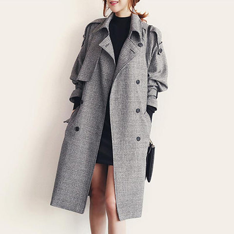 Plaid Double Breast Oversized Slim Long Coat with Belt on