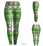 Christmas Pattern Digital Print Women Elastic Skinny Party Legging