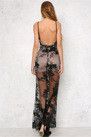 Sequins Print Spaghetti Straps Backless Long Party Dress