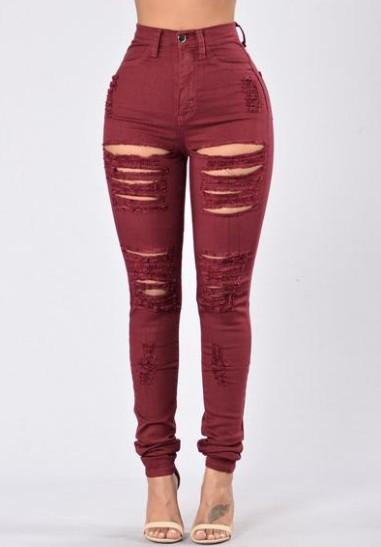 High Waist Pure Color Rips Slim Long Jeans