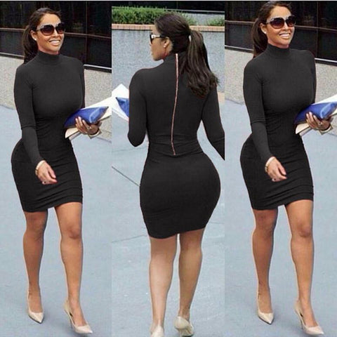 High Neck Long Sleeve Back Zipper Bodycon Short Dress