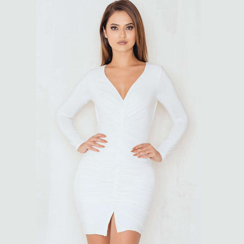 Sexy Long-Sleeved Drape Split Club Short Bodycon Dress