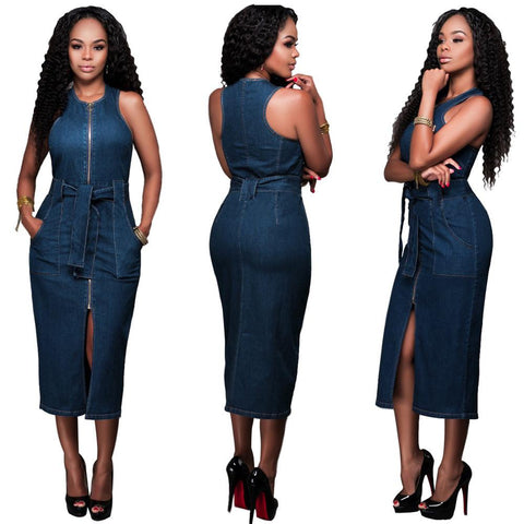 Sleeveless Scoop Neck Skinny Denim Tee-length Dress