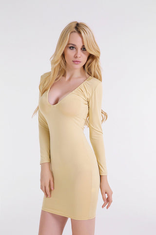 Gold Deep V-Neck Bodycon Short Dress