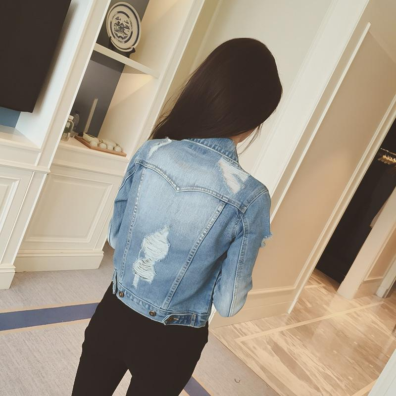 Pure Color Hole Slim Thin Beggar Style Short Denim Coat
