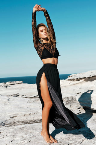 Lace Grenadine Crop Top with High-waisted Long Chiffon Skirt Two Pieces Dress Set