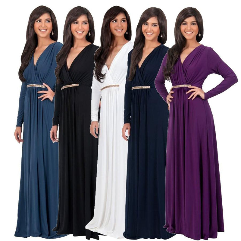 Long Sleeve V-neck Pleated Long Dress
